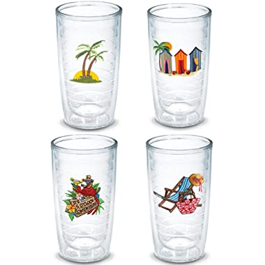 Tervis 16 Ounces Double Wall Tumblers, Set of 4 (Life On The Beach)