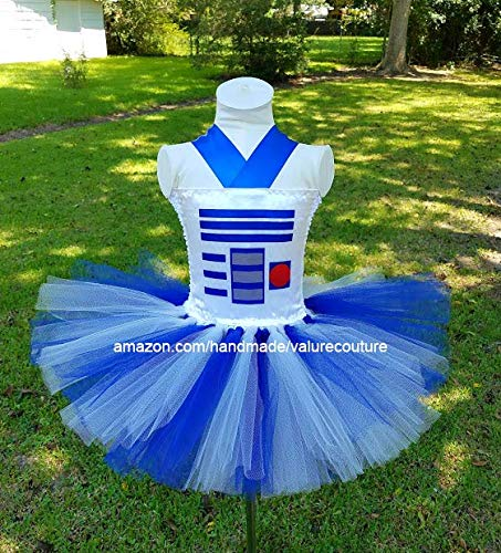 Star Wars R2D2 Inspired Tutu Dress Costume Birthday Pageant Halloween Girls Newborn Infant Toddler Baby Outfit Onesie Shirt Bow Party Princess Kids Gift Topper Favors]()