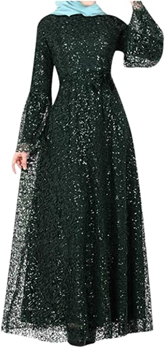 Women Long Sleeve Party Muslim Arab Abaya Maxi Stitching Lace Dress Kaftan