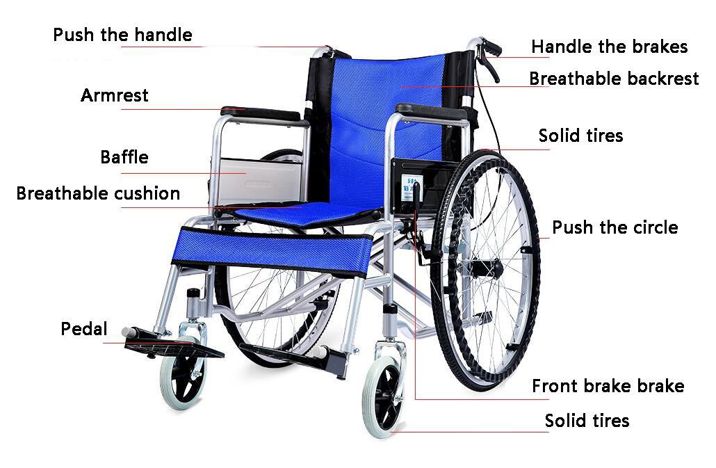 Comfy Go - Durable Lightweight Manual Handbrake Portable Medical Mobility Wheelchair (Blue)