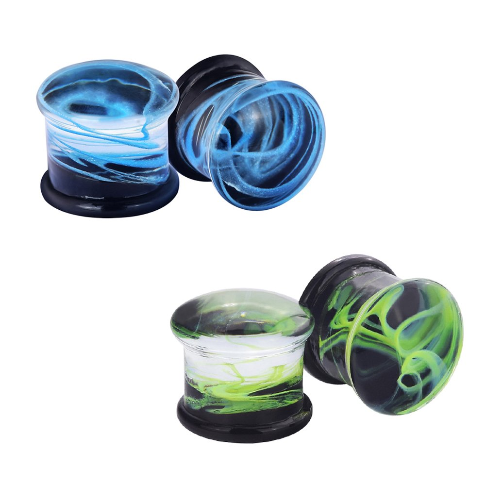 Qmcandy 4pcs 1/4'' Glass Nest of Waves Saddle Ear Plugs Stretching Piercing Gauges