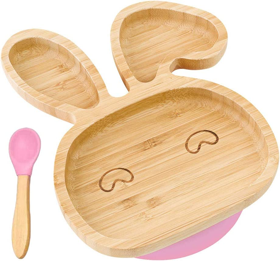 Natural Bamboo Toddler Plates with Spoon Portable Dinner Plate Feeding Plate KKPLZZ Baby Toddler Dinner Plates