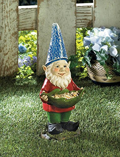Gnomes Bird Feeder Gnome Solar Statue with Light at Night Charming Path and Garden New