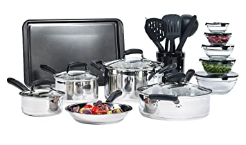 25 Piece Stainless Steel Mega Cookware Set Cooking Kitchen Sets