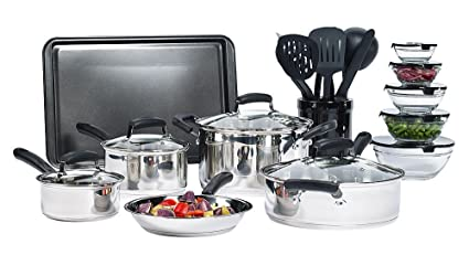 Amazon Com 25 Piece Stainless Steel Mega Cookware Set Cooking