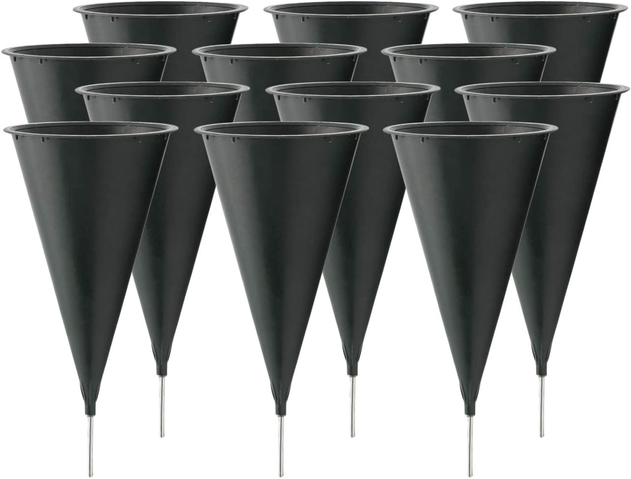 Royal Imports Cemetery Flower Vase Cone for Graveside Memorial with Metal Stake (Medium) 9.75 X 4 inch - 12 Pk