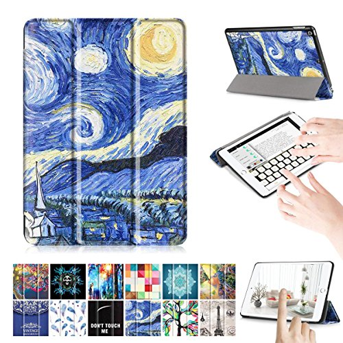 2 Pack Executive Glasses (New iPad 9.7 Case, [Multi-angle Stand] Ultra Slim Lightweight Smart Cover With Stand Case for Apple All-New iPad 9.7 Inch 2017 Tablet -Star)
