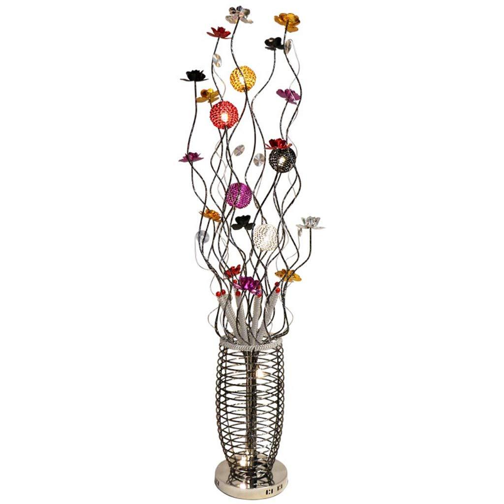Stehleuchte Bunte Pastorale Persönlichkeit Mode Kreative Wohnzimmer Schlafzimmer Nachttischlampe Blume Aluminium Stehleuchte (Color : Warm light-Foot+remote control)