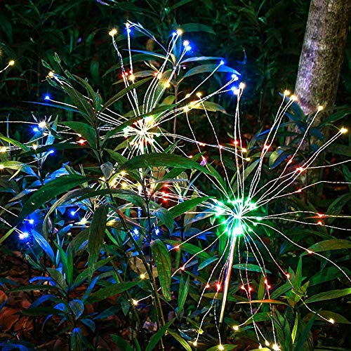 (Anordsem Solar Garden Lights Solar Stake Lights DIY Firework Lights Foldable Branches IP67 Waterproof LED Outdoor Home Decor Artificial Trees for Christmas Birthday Wedding Party Color Changing 2 Pack)