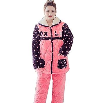 AXIANQI Otoño E Invierno Engrosamiento De Tres Capas Más Pijamas De Terciopelo con Solapa Grande,