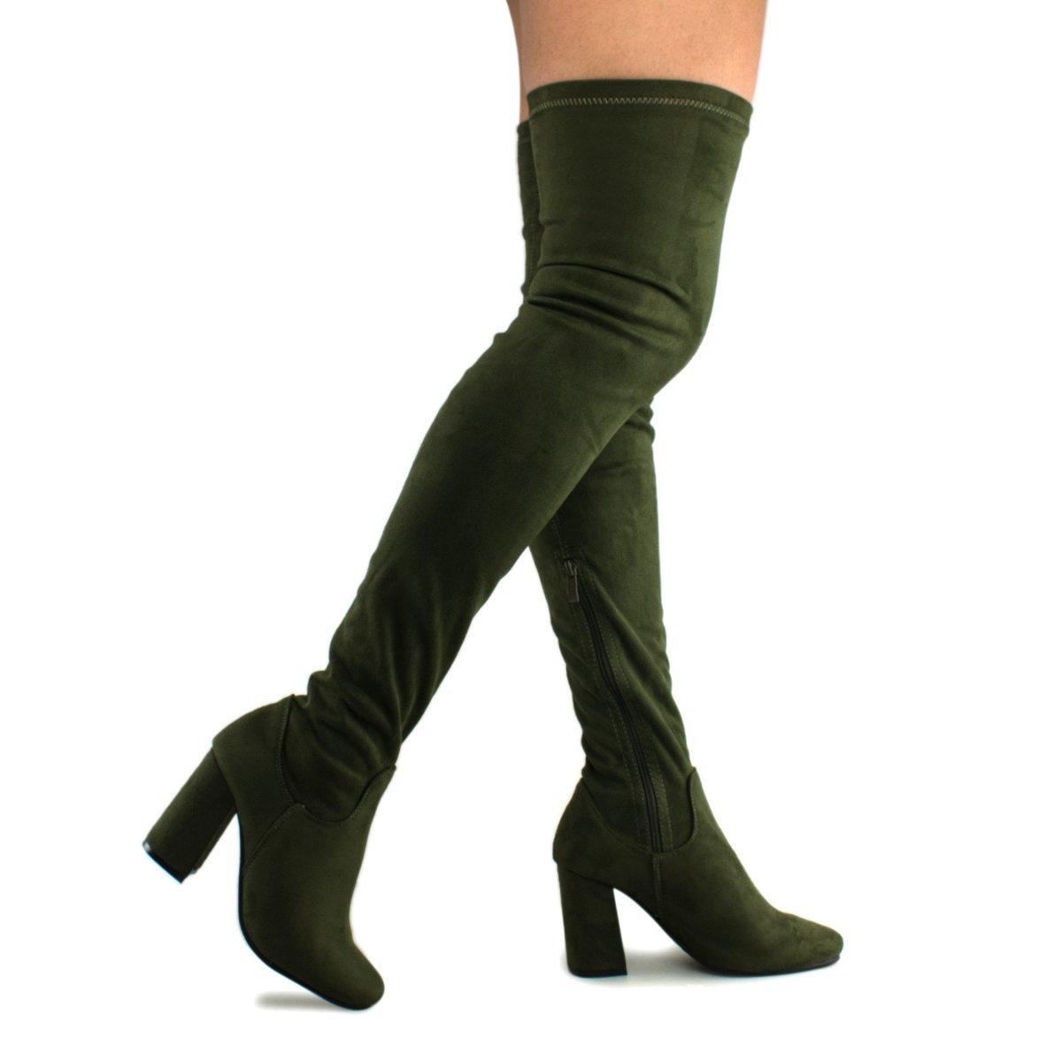 Premier Standard Women Fashion Comfy Vegan Suede Block Heel Slip On Thigh High Over The Knee Boots, TPS Elantra-01 v2 Olive Size 8