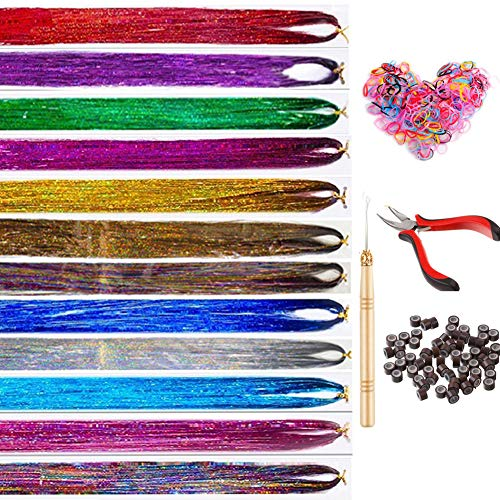 sunblue Hair Tinsel Strands Kit, 12 Colors 2400 Strands Fairy Hair Tinsel Kit, Sparkling Shiny Tinsel Hair Extensions for Women Girls With Tools
