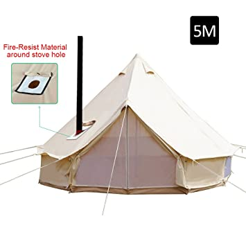 Playdo 4-Season Waterproof Cotton Canvas Large Family C& Bell Tent Hunting Wall Tent with  sc 1 st  Amazon.com & Amazon.com : Playdo 4-Season Waterproof Cotton Canvas Large Family ...