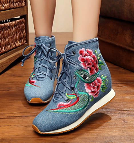 Avacostume Womens Broderi Plattform Kil Oxford Enda Snörning Boots Blue