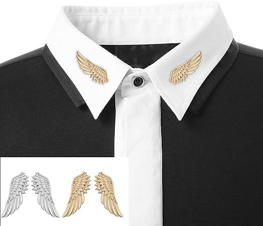 Sunvy - 1 par de broches de Cuello para Camisa con Diseño Retro, con Hebilla en ángulo y alas, para Hombre: Amazon.es: Hogar
