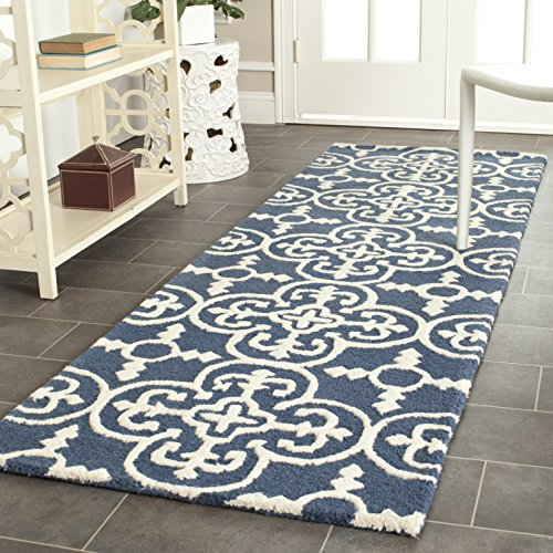 Navy Wool Runner Rug - Safavieh Cambridge Collection CAM133G Handcrafted Moroccan Geometric Navy and Ivory Premium Wool Runner (2'6