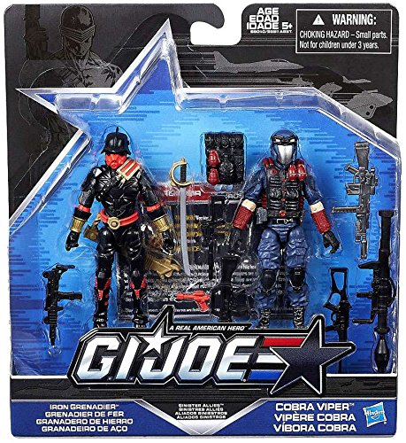 G.I. Joe, 50th Anniversary, Sinister Allies Action Figure Set (Iron Grenadier vs Cobra Viper Action), 3.75 Inches