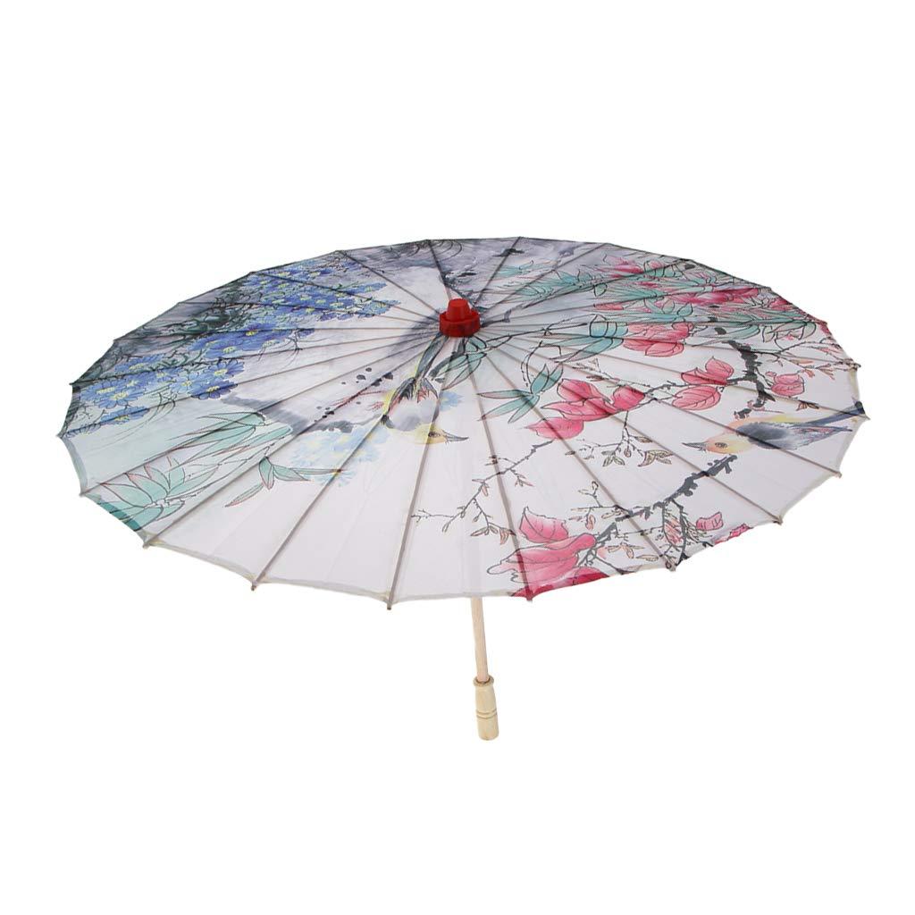P Prettyia 1 Pieza Paraguas Parasol de Tela de Seda Cl/ásico Sombrilla Durable Reutilizable Souvenirs 4
