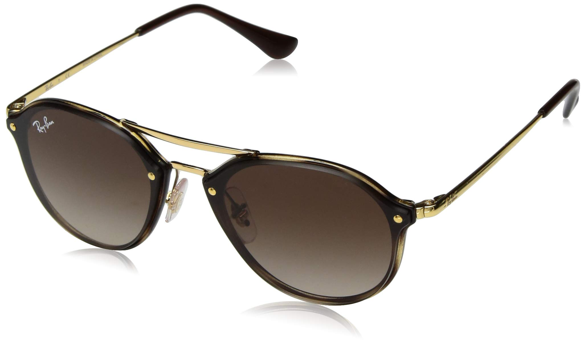 Ray-Ban Junior RJ9067SN Double Bridge Kids Sunglasses, Shiny Tortoise/Brown Gradient, 53 mm