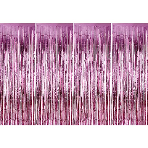 Birthday Pink Shimmer - Sumind 4 Pack Foil Curtains Metallic Fringe Curtains Shimmer Curtain for Birthday Wedding Party Christmas Decorations (Pink)