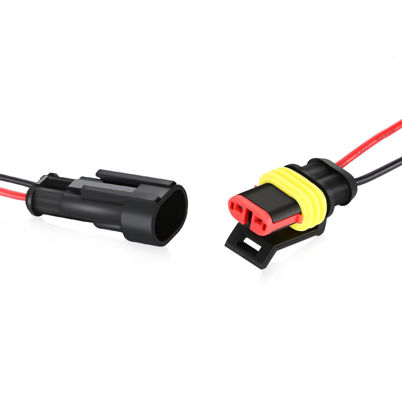 Barco 5 Kits 3 Pin 2 Pin 3 Pin 4 Pin Conector de Cable Enchufe Impermeable Conector R/ápido,con Cable El/éctrico para Coche Moto y Quad