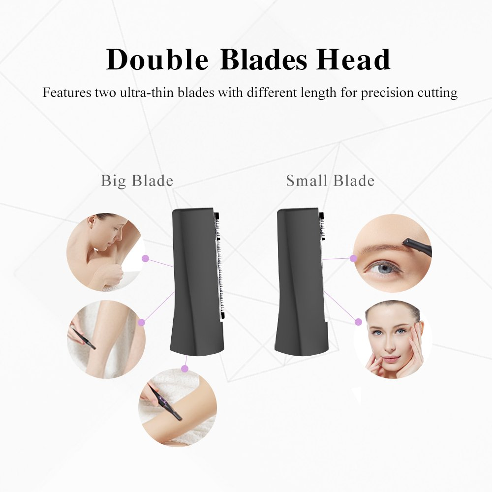 TOUCHBeauty Eyebrow Hair Trimmers for Women Facial Body Hair Shaver with 2 Cutting Head Battery Powered AS-1158