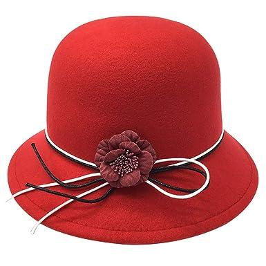 783104ca073d9 KDSANSO Women s Bowler Hats Elegant Flowers Hat Ladies Church Derby ...