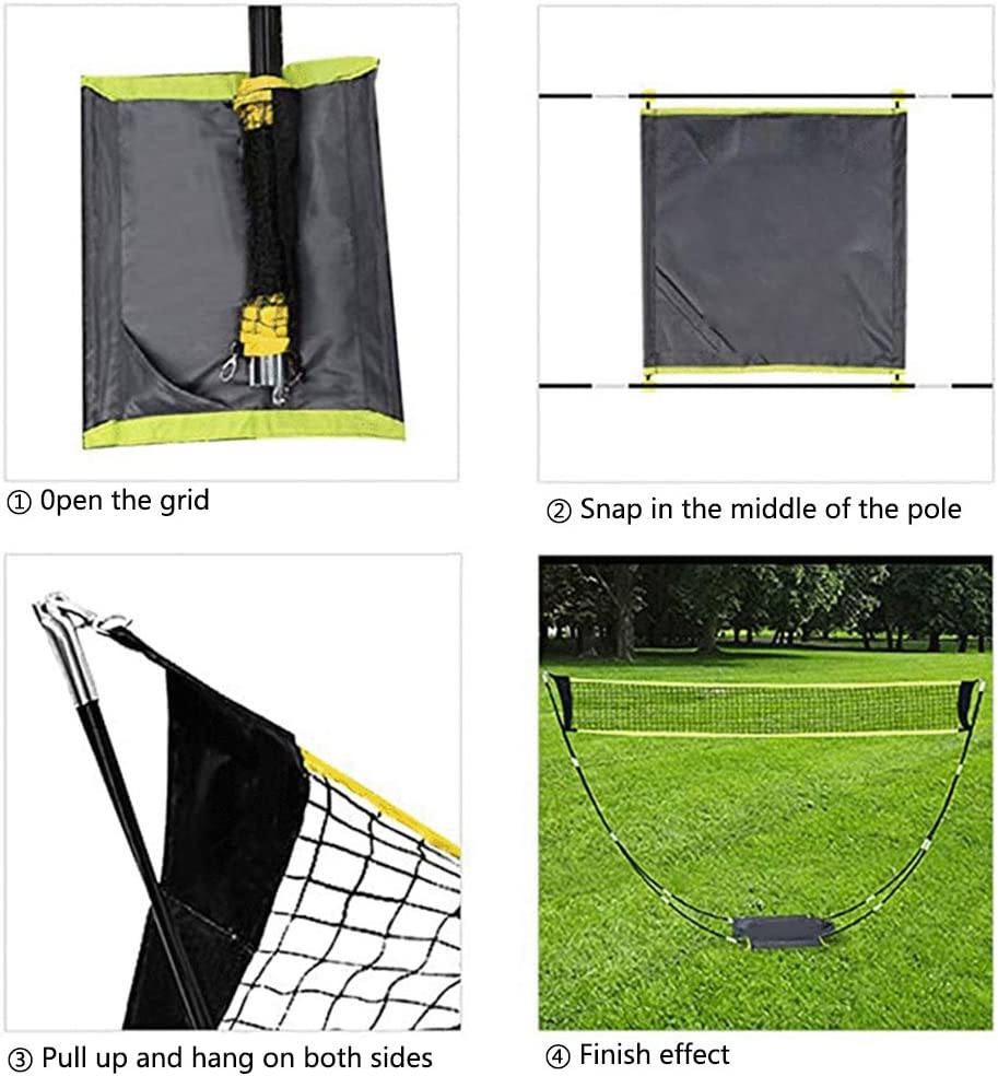 Ajfashion Portable Badminton Net Set with Poles Freestanding Standard Volleyball Tennis Sports Nets with Storage Bag for Outdoor Garden Beach /…