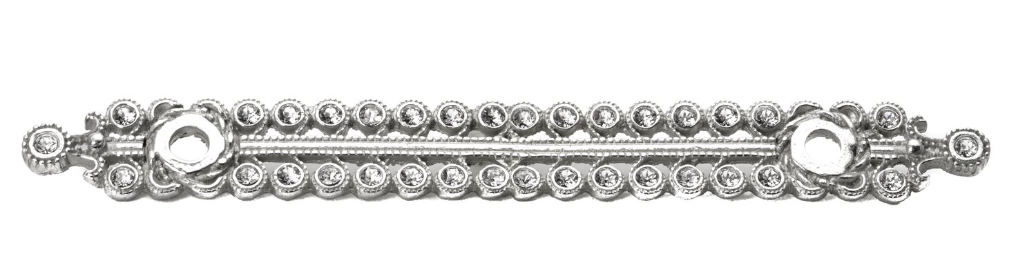 Carpe Diem Hardware 894-24C Cache  with 4-Inch O.C. Large Elongated Escutcheon with Swarovski Crystals, Platinum by Carpe Diem Hardware