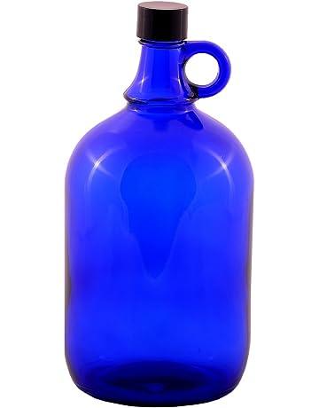 Botella (vidrio, capacidad: 2 L, cierre de rosca de aluminio, con