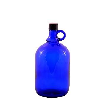 Garrafa de cristal azul con cierre de rosca de plástico negro y asa para Aquadea, 1 x 2 Liter: Amazon.es: Hogar