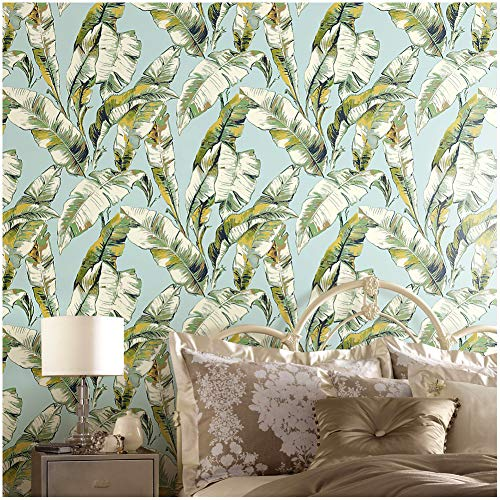 (4041 Banana Leaf Non Woven Wallpaper Rolls, Aqua Blue/Light Green/Yellow Leaves Pattern Wallpaper for Wall Decoration 20.8