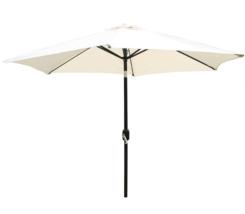 Garden Haven ® 2.7m Metal Garden Patio Umbrella Parasol Crank 38mm Tilt Pole - Beige