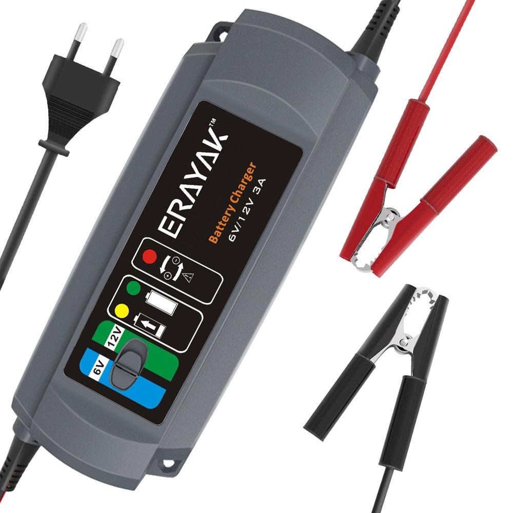 ERAYAK 5.0A 6V 12V Cargador de Bater/ía Mantenimiento Autom/ático e Inteligente para Autom/óviles y Motocicletas Soportes para Plomo /Ácido Bater/ía 120Ah