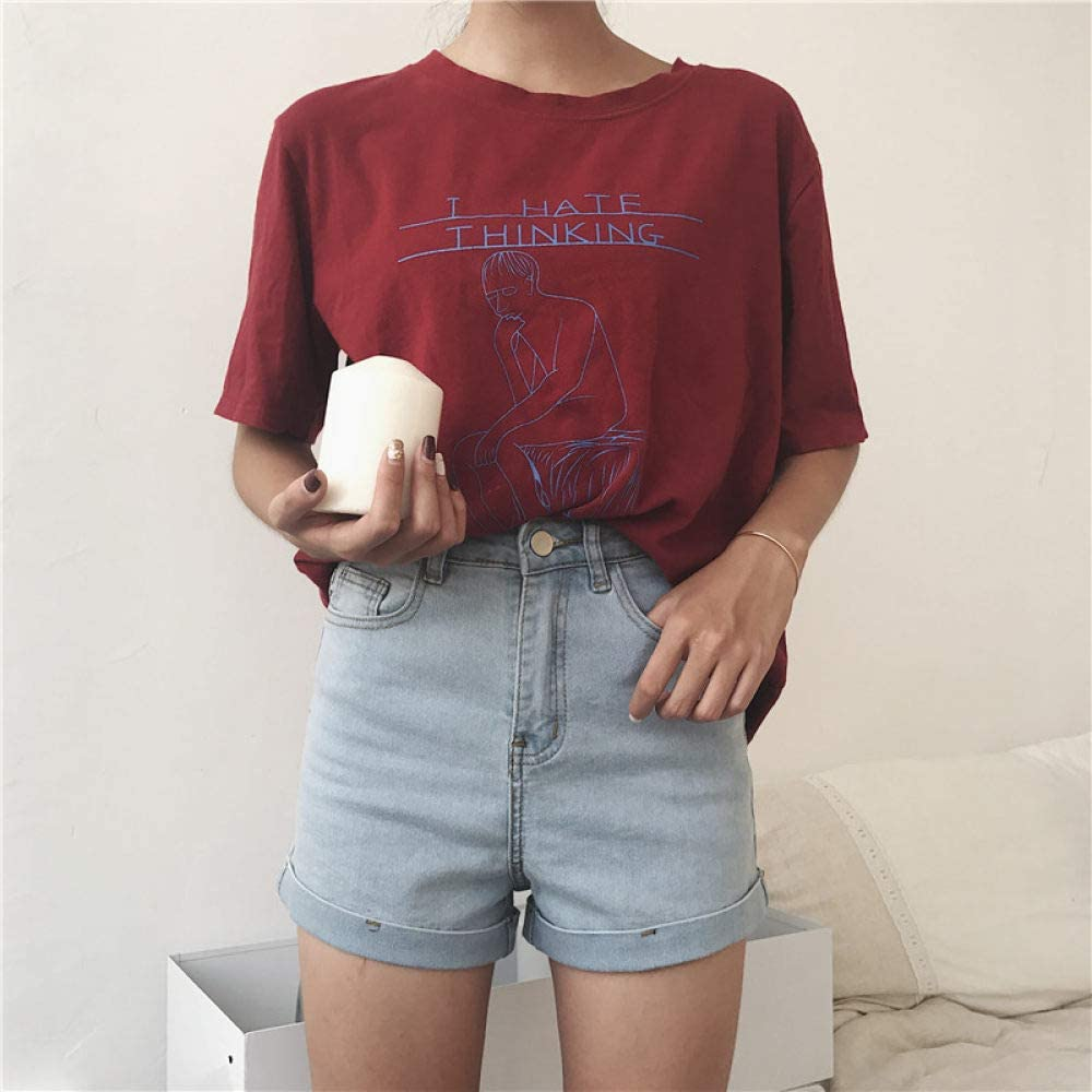 IHCIAIX Summer ladies shorts, Women's Casual Denim Shorts, Elastic Waist Stretchy Hemming Jeans Shorts Loose Button High Waisted Shorts Sky Blue