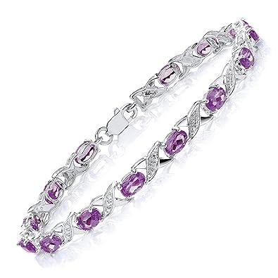 Theia Sterling Silver Oval 5ct Gem Stone 'S' Link with Diamonds 18.5 Bracelet SW8ZUqguw