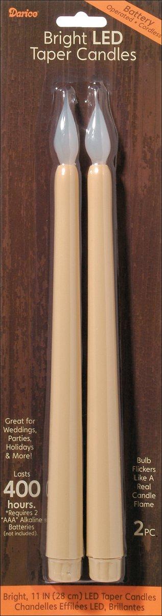 Darice Matrice Différentes LED Bougies Coniques 27, 9cm–Ivoire 9cm-Ivoire 6204-12