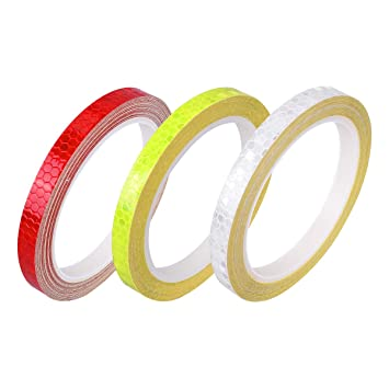 YoungRich 3PCS Reflective Warning Tape Strong Reflectivity High-adhesive Bright Color Safety Reminder Tool for Road Transport Facilities Vehicles Ships Fairways Stage Channel 5cm*3m White Red Yellow