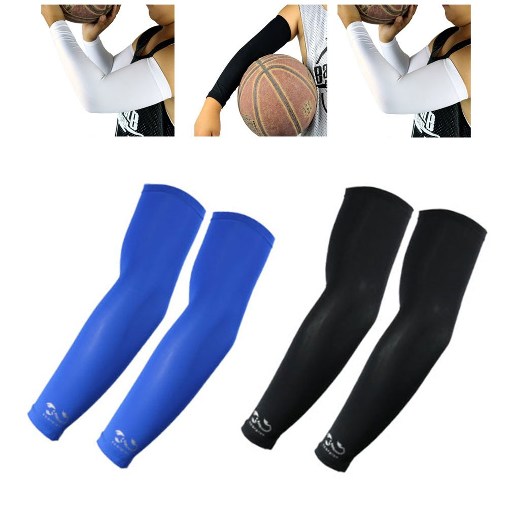 Scorpion Sports Apparel Compression Arm Sleeves (2 Pairs) - Kids, Youth - Basketball Shooter Football Baseball Cycling Volleyball, Blue, Black