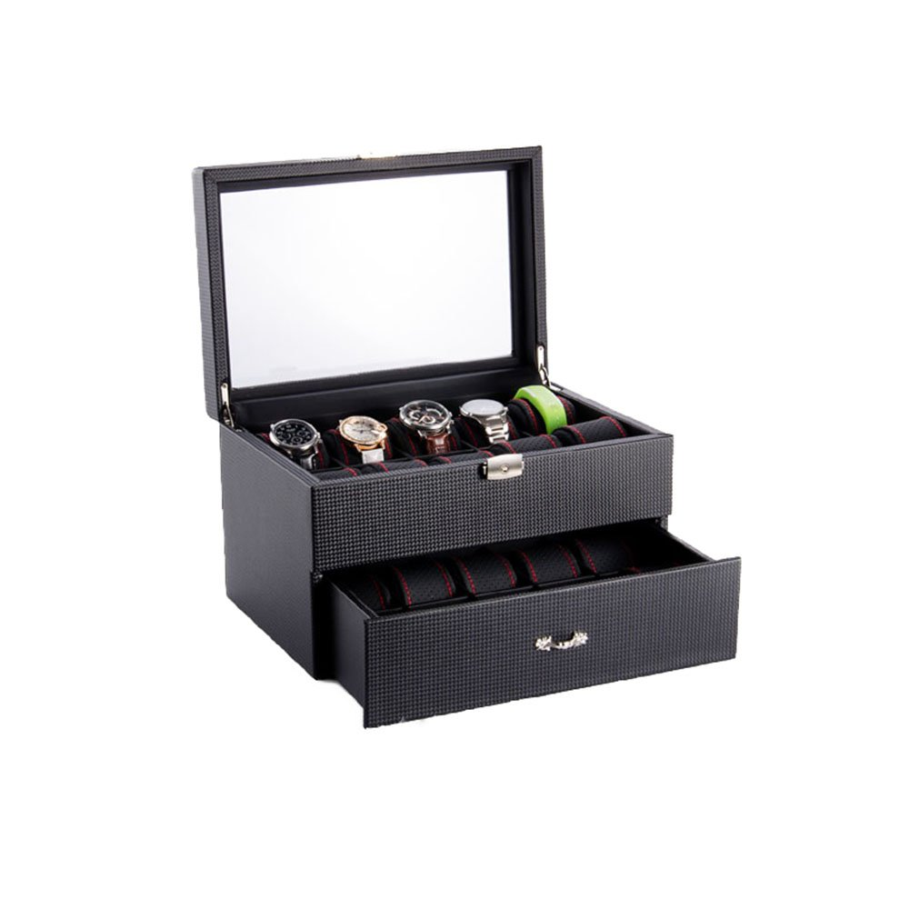 TGDY Watches Jewelry Bracelets Display Collection Storage Cases High-Grade PU,Wooden, Carbon Fiber HD Glass 20Slot Double Black