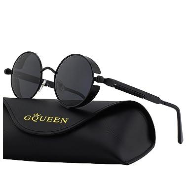 GQUEEN Retro Runde Steampunk Polarisierte Sonnenbrille MTS2 bVRPzpWA