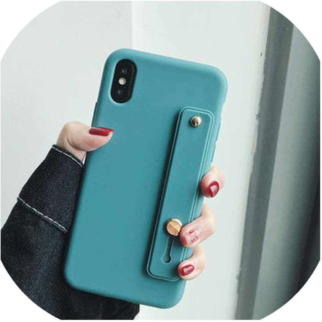 Mobile Phone case Candy Color Phone Holder Case for iPhone 7 Case for iPhone 11 X XS max XR 6 6s 7 8 Plus Colorful Wrist Strap Case Soft TPU Cover,for iPhone 11,T6