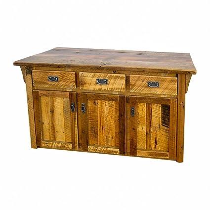 Amazon Com Rustic Barn Wood Kitchen Cabinet Island Amish Made In