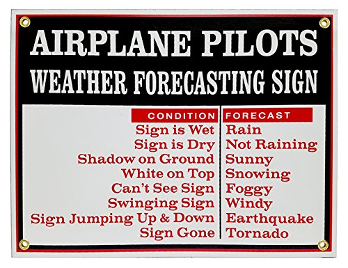 Airplane Pilots Weather Forecasting Vintage Metal Sign