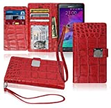 Specially designed for Samsung Galaxy Note4 wallet case with WRIST STRAP  Build in 7 Vertical ID / CREDIT CARD / BUSINESS CARD Slots, 1 CASH Compartment to conveniently store  POWER MAGNETIC CLOSURE to secure your wallet, covers all 4 corners...