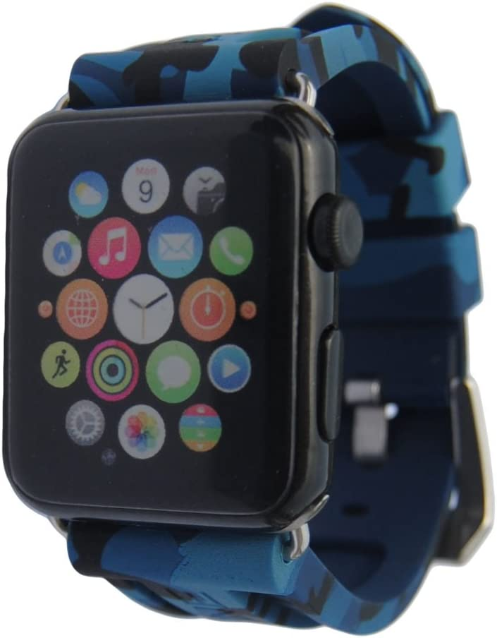 iPartsonline Sport Silicone Camo Watch Band for iWatch 42/44mm Soft Rubber Wristband for iWatch 6/5/4/3/2/SE Camouflage Band(Navy blue)