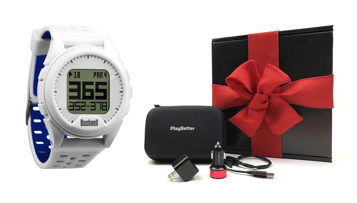 Bushnell Neo Ion (White) Golf GPS Watch GIFT BOX Bundle | Includes PlayBetter USB Wall/Car Adapters, GPS Carry Case, Cleaning Brush | Black Gift Box with Red Bow