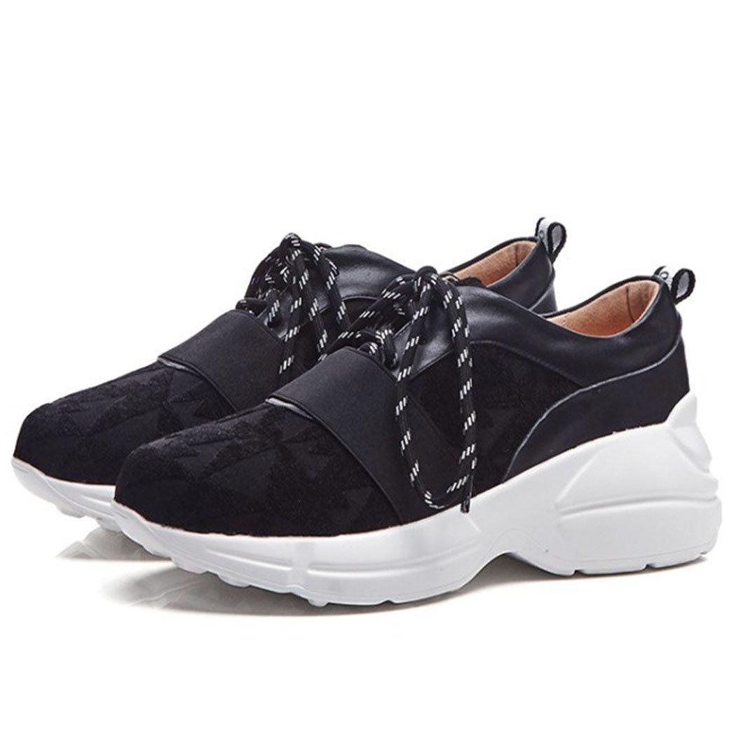 GAOLIXIA Zapatos de Mujer con Cordones Zapatillas de Deporte Retro Ligeras Zapatos Casuales Zapatillas de Deporte de Running Zapatillas de Deporte atléticas 35 EU|Negro