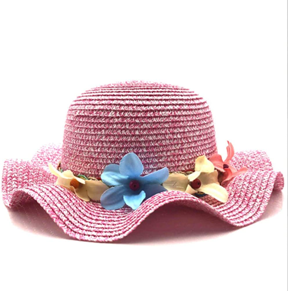 MAOZIJIE Child Cute Flower Sunhat Girl Handmade Straw Wave Wide Side Sun Hat Leisure Visor Summer Princess Beach Hat