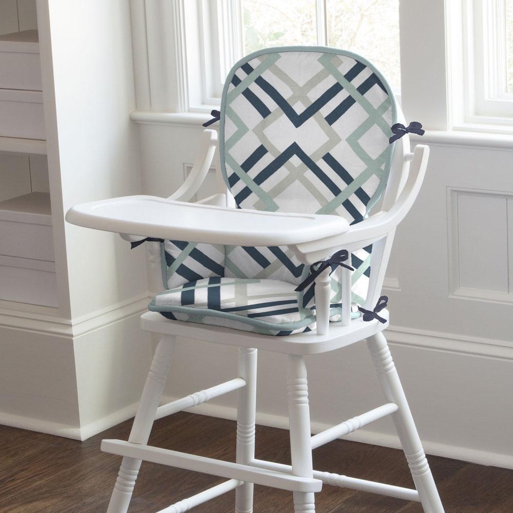 Carousel Designs Navy and Gray Geometric High Chair Pad